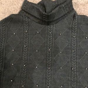 Sweaters - Grey Poncho with silver studs